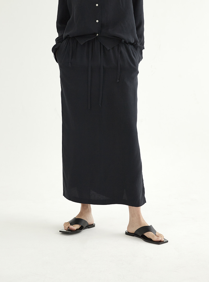 Long Slit Skirt Navy