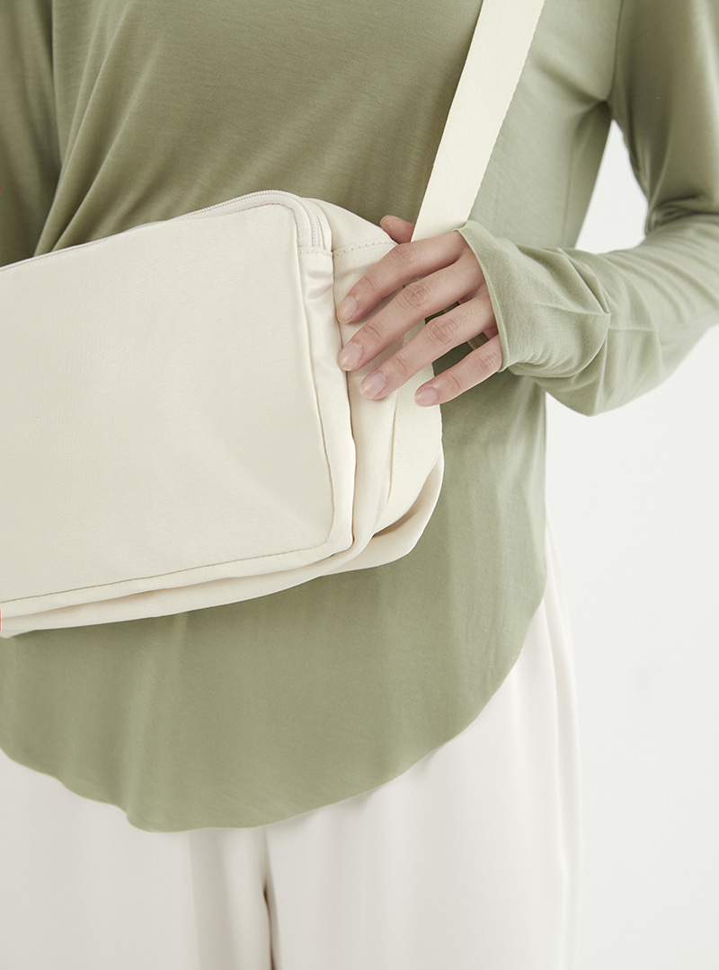 Satin Cross Back Bag Cream
