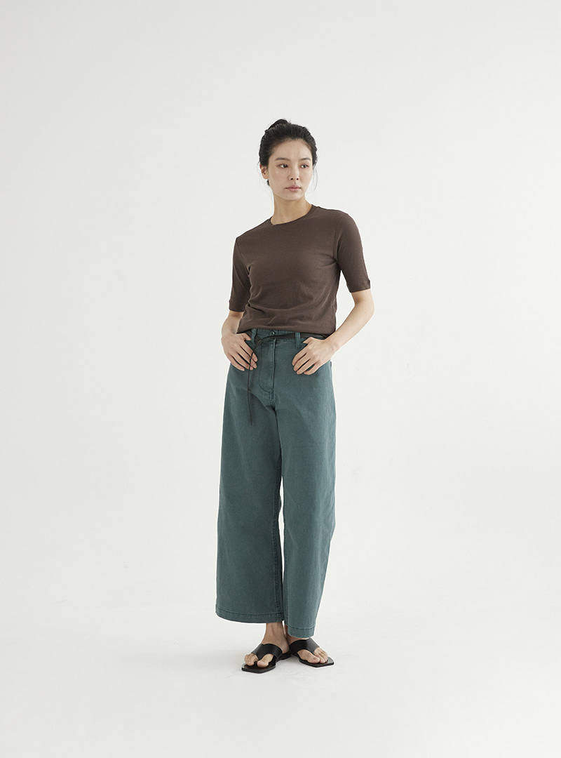 Washed Denim Pants Green